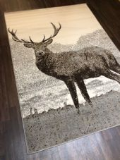 Modern Approx 8x5ft 160x230cm Woven Backed Quality rug stag Light Grey/Cream